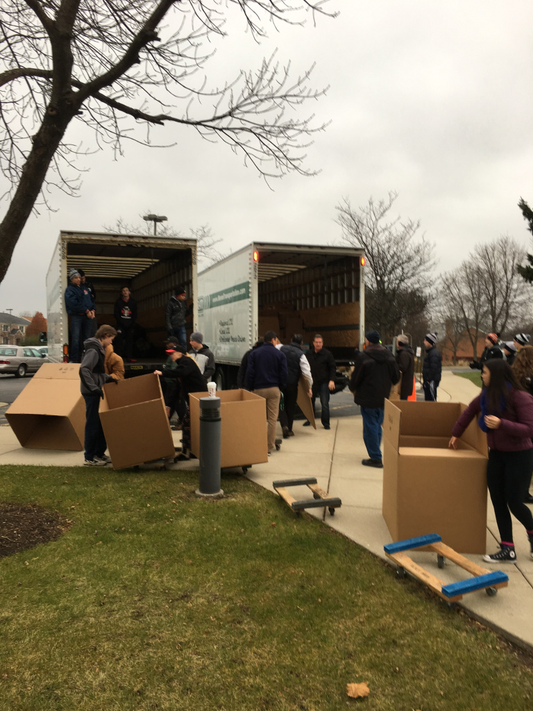 Loading the truck for St. James at St. Edna.